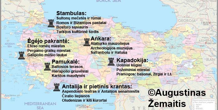 """Pagrindinių Turkijos turitstinių regionų žemėlapis. Prie kiekvieno regiono parašytos įspūdingiausios jo vietos ir patirtys. Apie kiekvieną regioną bei jo lankytinas vietas """"AŽ kelionės ir mintys"""" yra ar bus atskiras išsamus straipsnis."""