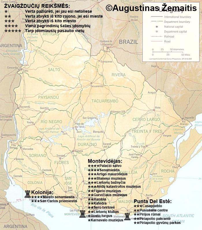 Urugvajaus lankytinų vietų žemėlapis ir įvertinimai. Gal jis padės jums susiplanuoti savo kelionę į Urugvajų