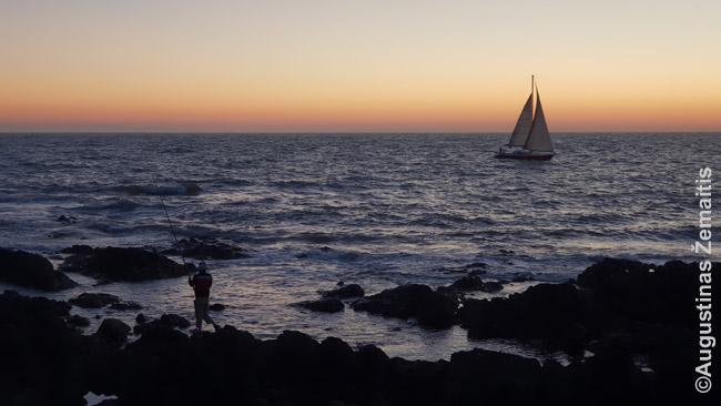 Net saulei nusileidus Punta Del Estėje gali laisvai gurkšnoti matę pakrantėje, žvejoti, buriuoti...
