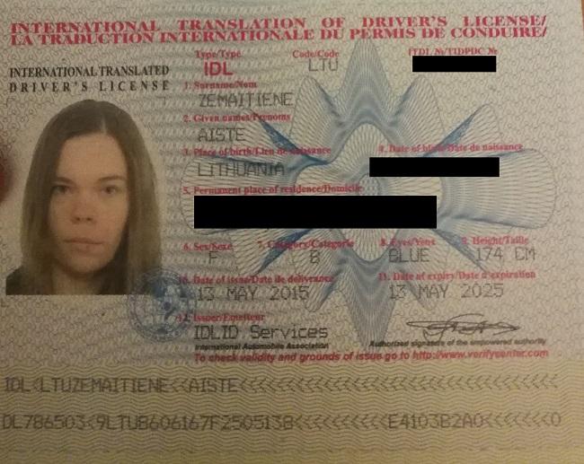 Mano žmonos tarptautinio vairuotojo pažymėjimo knygelės paskutinis puslapis
