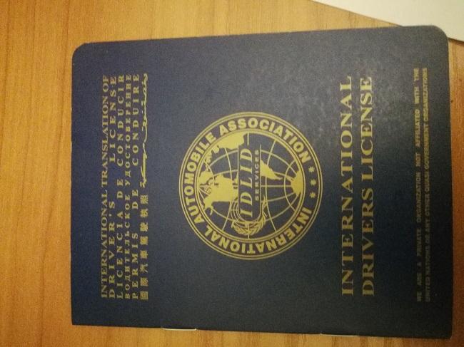 Tarptautinio vairuotojo pažymėjimo knygelės viršelis