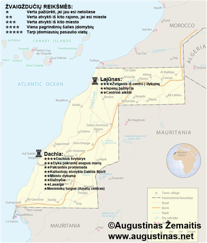 Vakarų Sacharos lankytinų vietų žemėlapis. Galbūt jis padės jums susiplanuoti savo kelionę į Vakarų Sacharą.