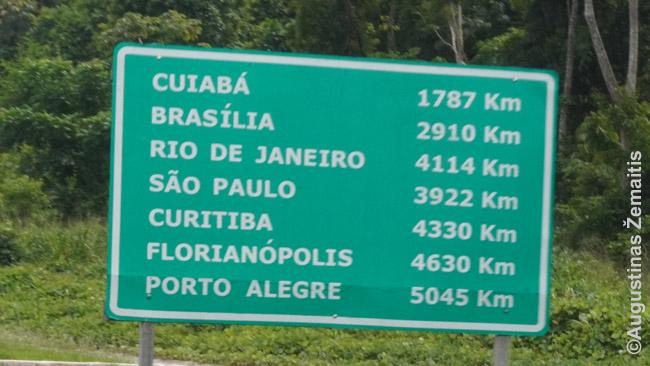 Jei dar kyla noras visą Braziliją apvažiuoti automobiliu ar viešuoju transportu, kviečiu pažiūrėti šią atstumų lentelę (nuotrauka daryta prie Santaremo)