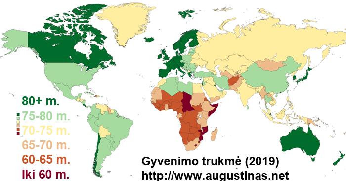 Vidutinė gyvenimo trukmė pasaulio šalyse