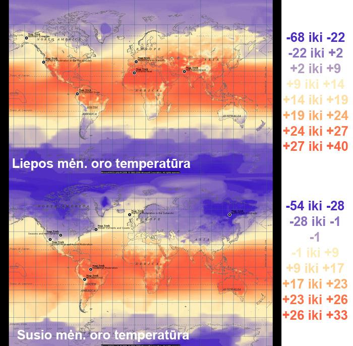 Vidutinė temperatūra (dienos ir nakties vidurkis) kiekviename taške liepą ir sausį