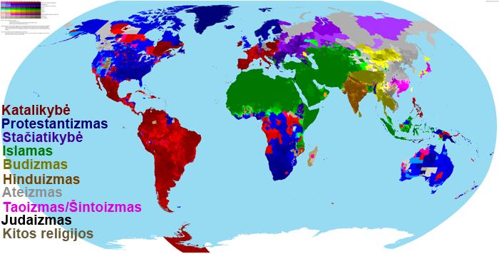Pasaulio religijos. Budistiniai kraštai pažymėti geltonai, o kuo spalva tamsesnė - tuo budistų procentas ten didesnis.